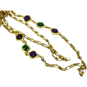 "Long Loose Lovely Gold Tone Double Chain Sautoir 30"" Necklace with Green Purple Rhinestones"