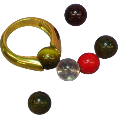 Avon Interchangeable Colored Stone Bead Ring