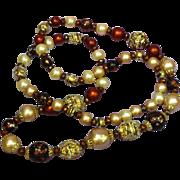 Vendome  Designer Crystal Pearl Sugar Bead Necklace