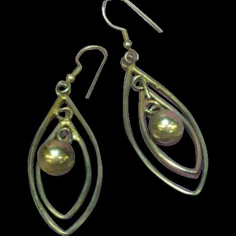Sterling Silver Fancy Multi Long Articulated Dangle Chandelier Style Euro Wire Design Pierced Earrings