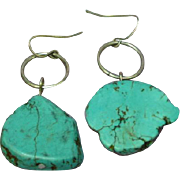 Navajo Sterling Silver Turquoise Slab Pierced Earrings