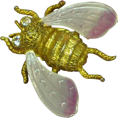 Gorgeous Large Enamel Bug Bee Winged Insect Pin Brooch