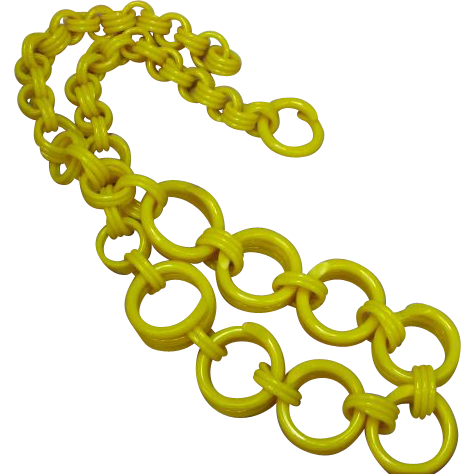 Butter Yellow Celluloid Chain Necklace