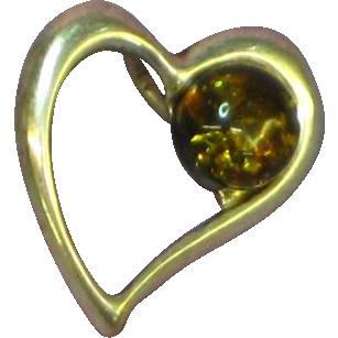 Amber Genuine Cognac Sterling Silver Heart Charm Pendant