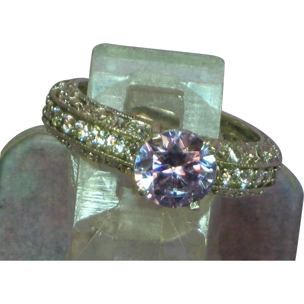 Meda Signed Cubic Zirconia Sterling Silver Filigree Diamonique Eternity Band  with Lavender CZ RETIRED Ring