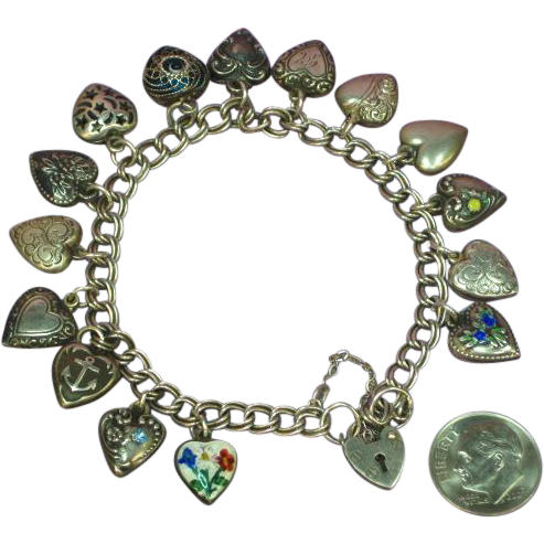 Victorian and 1940s Petite Enamel English Sterling Silver Mini Puffy 15 Hearts with Heart Lock Charm Bracelet