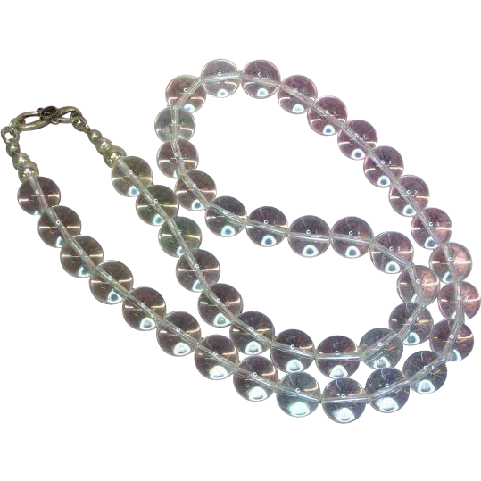 Pools of Light Genuine Drilled Rock Crystal Round Beads Sterling Silver w/ Garnet Clasp Necklace