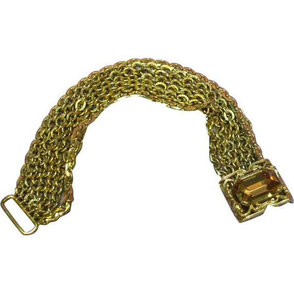Napier Victorian Revival Hidden Clasp Topaz Jeweled Stone Bracelet