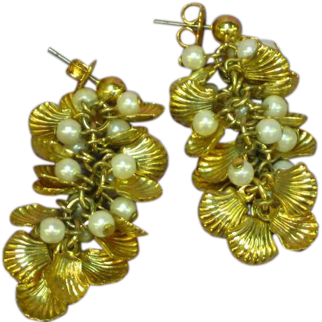 Dangle Faux Pearl Gold tone Shell Cluster Pierced Earrings