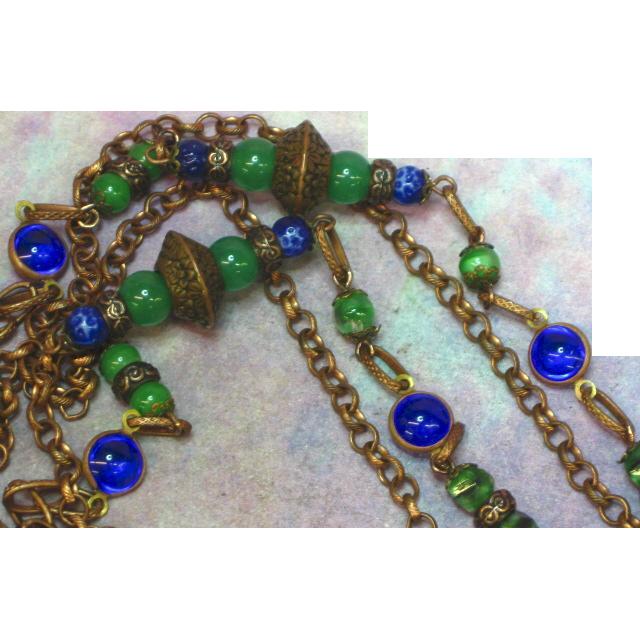 Exotic Edwardian Czech Brass Gablonz Glass Long Necklace