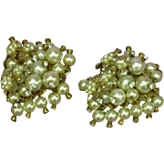 Large Runway Dangle Faux Pearl and Rhinestone Cluster Earrings
