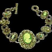Graziano Signed Original Cameo Vintage Charm Bracelet