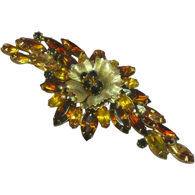 Jonne Schrager Signed Schrager Large Rhinestones Articulated Tremblant Pin Brooch