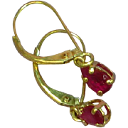 14KT Yellow Gold  Natural Ruby Delicate Dangle Estate Ladies Pierced Earrings