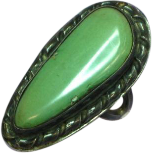Native American Indian Royston Green Turquoise Sterling Silver Large Ring
