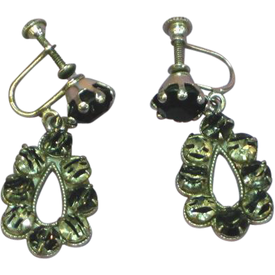 European Silver IRIS Rhinestone Black & White Glass Dangle Vintage Earrings