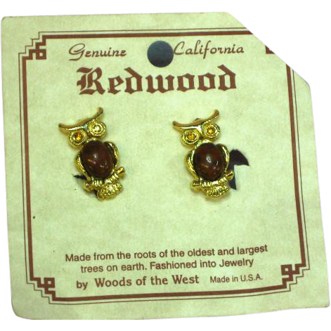 Redwood Burl Owl Figural Clip Earrings