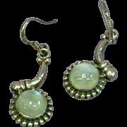 Gemstones Rainbow Moonstone Luminous Blue Sterling Silver Dangle Pierced Earrings