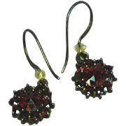 Victorian Bohemian Garnet Pierced Dangle Earrings