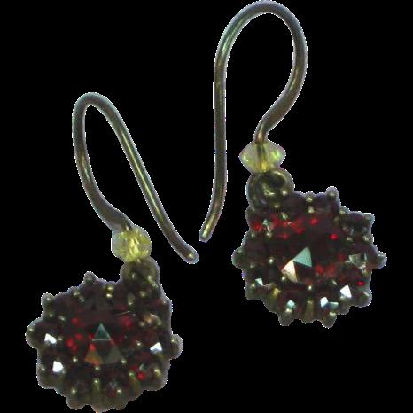Victorian Bohemian Garnet Pierced Dangle Earrings