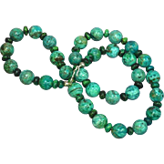 Gemstones Natural Chrysocola Hand Polished Beads Turquoise Azurite Sterling Silver Strand Necklace