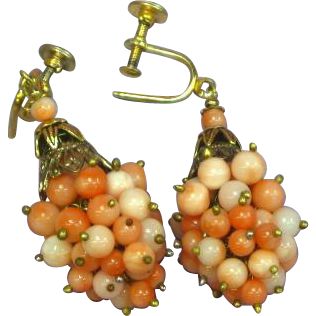 Vintage Gilt Angel Skin Pink Coral  Woven Grape Cluster Design Earrings