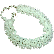 Massive Immaculate Milk Glass Cluster Choker Book Chain Necklace