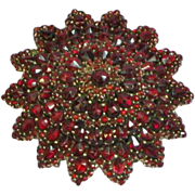 Victorian Genuine Natural Bohemian Rose Cut Genuine Gemstone Garnet Starburst Pin Brooch