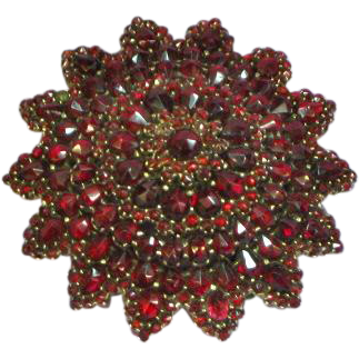 Victorian Genuine Natural Bohemian Rose Cut Genuine Gemstone Garnet Starburst Pin Brooch