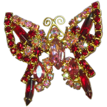 Rhinestones Fabulous  Pink Red Rose Aurora Borealis Swallowtail Butterfly Brooch Pin