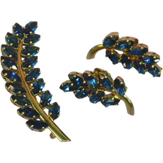Napier Signed Demi Parure Sapphire Blue Rhinestone Marquise Floral Brooch with Clip Earrings