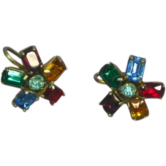 "Rhinestones Beautiful Vintage Multi Color  ""Sparklers"" Screwback Earrings"