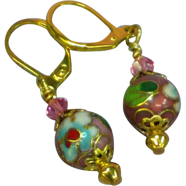 Chinese Cloisonne Enamel Flower Drop Dangle Pierced Earrings