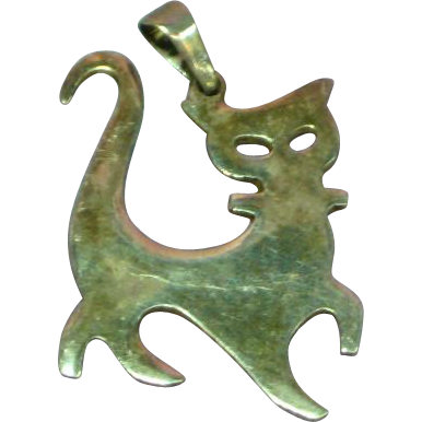 Vintage 1950's Sterling Silver Modernistic Cat Charm Pendant