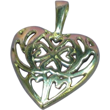 Sterling Silver Filigree Fancy Heart Charm Necklace Pendant