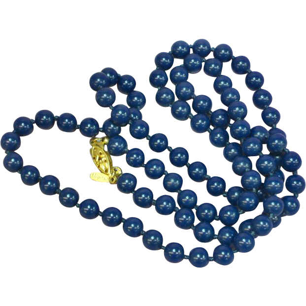 Napier Dark Blue Beaded Hand Knotted Necklace
