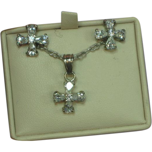 Vintage Sterling Silver Cross Pendant and Pierced Earrings  with Clear CZs Set