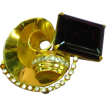 Coro Signed 10K Gold Plate Sterling Large Dramatic Pin Brooch