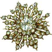 Austria Marked Rhinestones Snowflake Pin Brooch