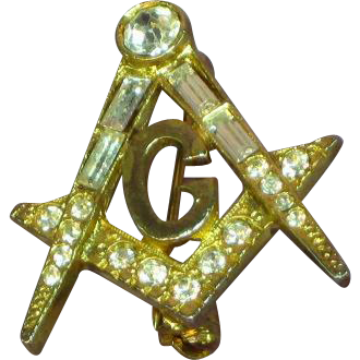 Masonic Gold Plate Rhinestone Tie Pin