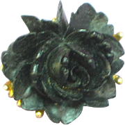 J.J. Black Rose on Brushed Gold Figural Floral Pendant Pin Brooch