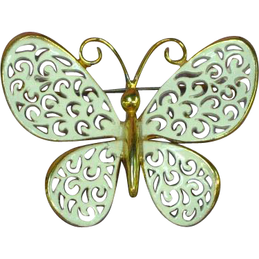 Elegant White and Gold Enamel Butterfly Pin Brooch