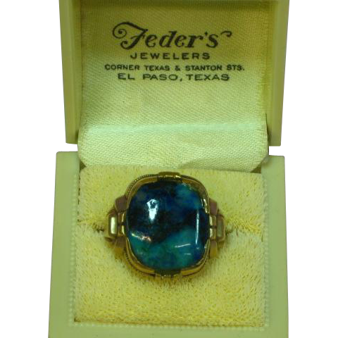 Original Box Retro Era Mens Handsome Blue Chrysocola 10K Yellow Gold  Ring