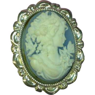 Exquisite Wedgewood Blue & White Cameo Costume Pin Brooch