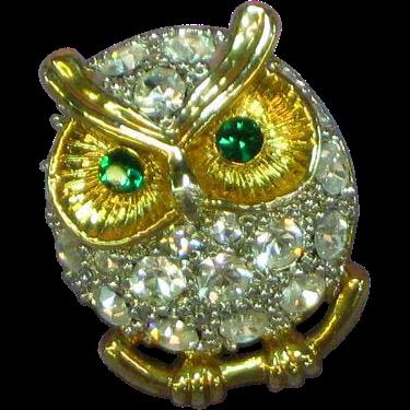 Swarovski Rhinestone Owl Tie Tac Pin Brooch