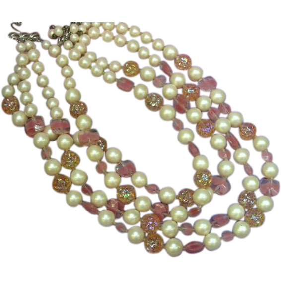 Marvella Marked Pink Art Glass Pearl Four Strand Necklace