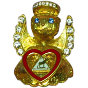 Moose Lodge Fraternal Organization Rhinestone Enamel Angel Pin Brooch