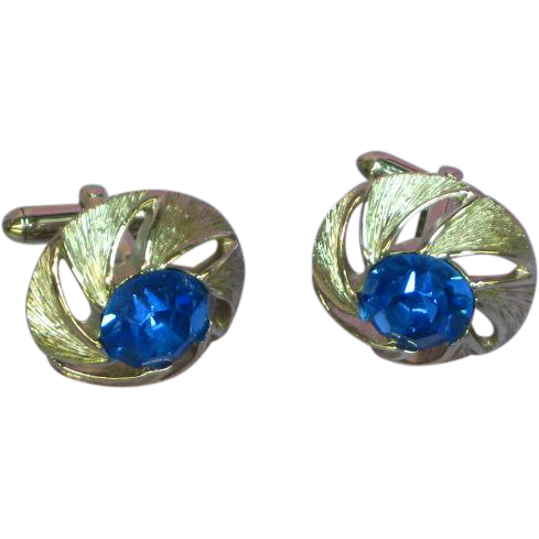 Cufflinks Blue Large Rhinestones Silver tone Cuff Links