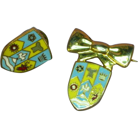 Enamel Lapel Tie Tac Bow His & Hers Pin Set