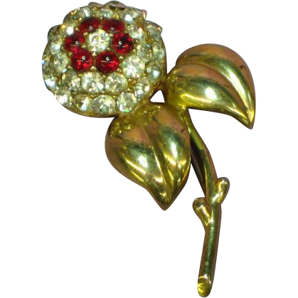 Castlecliff Signed 1940's Heavy Art Deco Rhinestone Gripoix Glass Brooch Pin